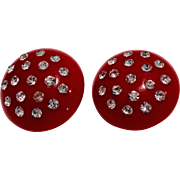 Vintage Acrylic Rhinestone Studded Clip Earrings