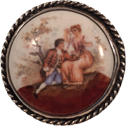 SHARP Sterling Silver 925 Courting Couple Painted Porcelain Pin/Pendant