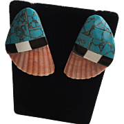 Stunning Santo Domingo Pueblo Spiny Oyster Shell With Inlay Post Earrings