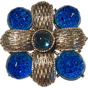 Vintage Silvertone And Electric Blue Dotted Glass Intaglio Brooch
