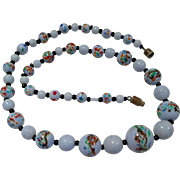 Vintage Handpainted Glass Art Bead Necklace