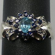 Vintage 14kt Blue Zircon & Blue Sapphire  Ring; FREE SIZING