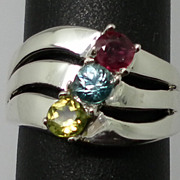 Vintage 14kt Peridot, Zircon and Ruby Ring; FREE SIZING.