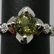 Vintage 14kt Green Tourmaline & Diamonds Ring; FREE SIZING