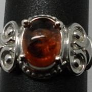 Vintage Natural Spessartite Garnet Sterling Silver Ring; FREE SIZING