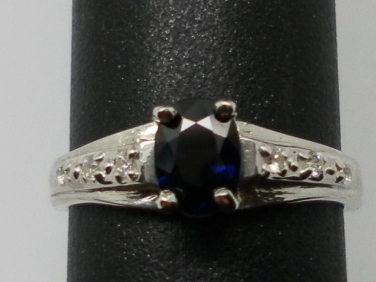 Vintage Blue Sapphire & Diamonds Ring; FREE SIZING