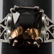 Vintage Smoky Quartz Sterling Silver Ring; FREE SIZING