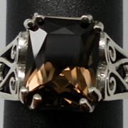 Vintage Smoky Quartz Sterling Silver Ring; FREE SIZING