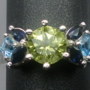 Vintage Peridot, Sapphire & Topaz Sterling Silver Ring; FREE SIZING.