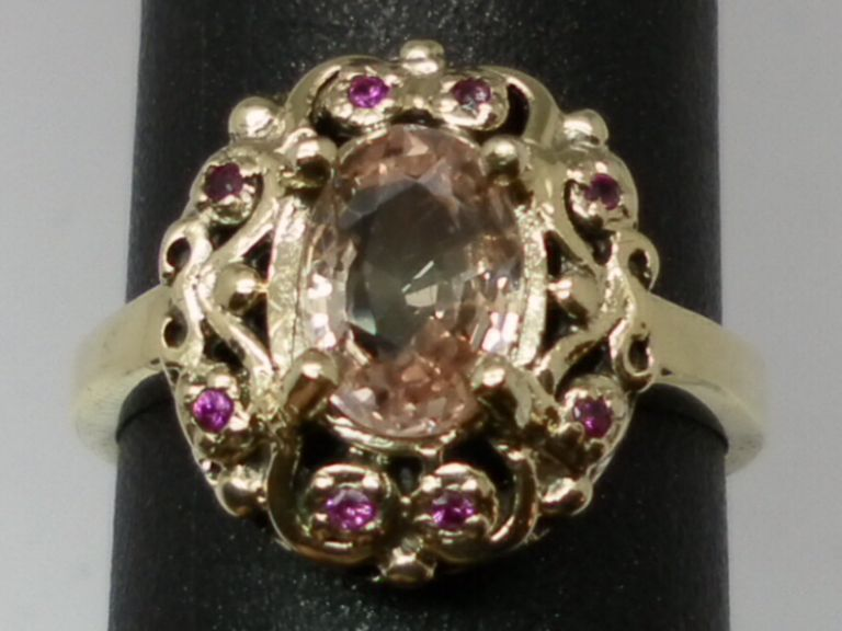 Vintage 14kt Unheated Padparadscha Sapphire & Ruby Ring; FREE SIZING