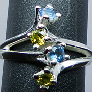NATURAL peridot and blue topaz silver ring; all sizes from 3 to 13.