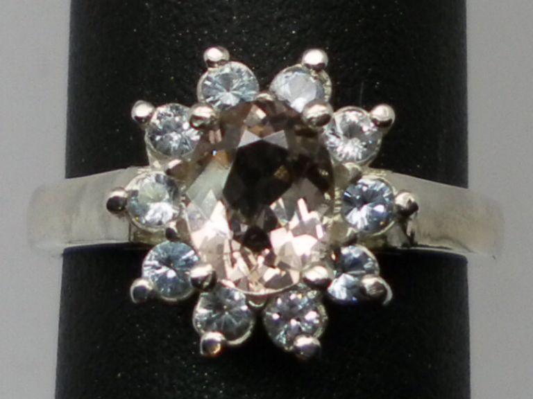 Vintage 14kt Morganite & Aquamarine Ring; FREE SIZING