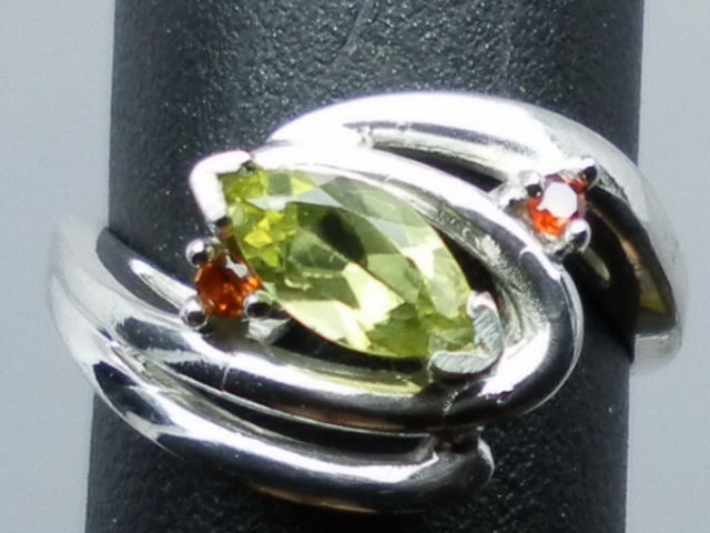 NATURAL peridot and garnet silver ring; ANY size from 3 to 13.