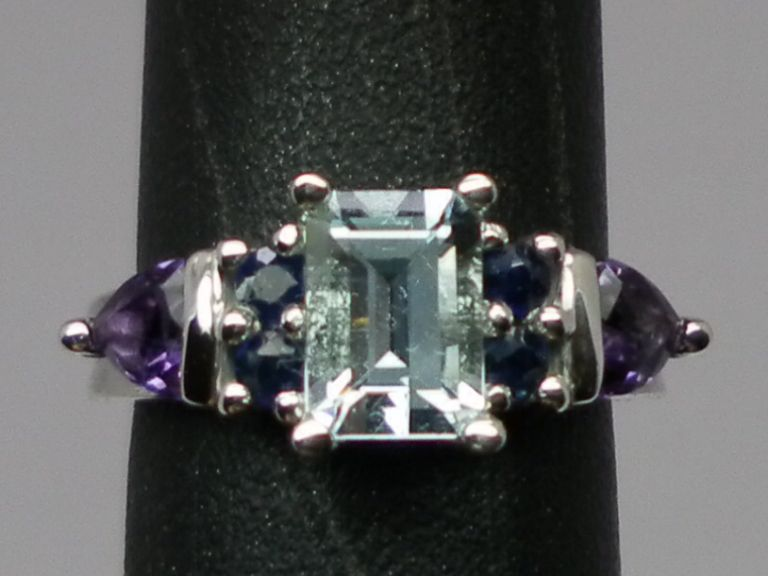 Vintage 14kt Aquamarine, Sapphire & Amethyst Ring; FREE SIZING.