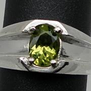 Vintage Peridot Silver Men's Ring; FREE SIZING