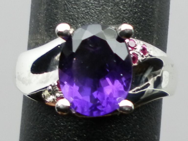 NATURAL amethyst and ruby silver ring,ANY SIZE FROM 3 TO 13.