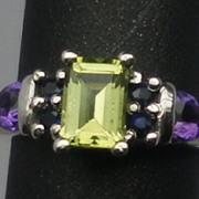 Vintage Peridot, Sapphire & Amethyst Silver Ring; FREE SIZING