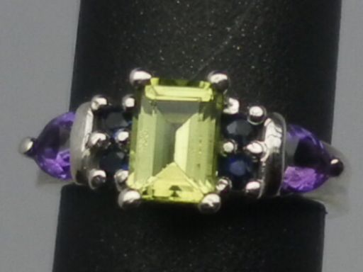 Vintage Peridot, Sapphire & Amethyst Silver Ring; FREE SIZING