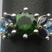 Vintage 14kt Chrome Diopside, Sapphire & Topaz Ring; FREE SIZING
