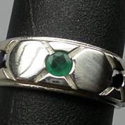 Vintage Emerald & Black Onyx Silver Ring; FREE SIZING.