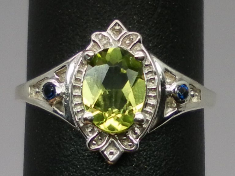 Vintage Peridot & Blue Sapphire Silver Ring; FREE SIZING.
