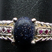 NATURAL purple sunstone and ruby silver ring;  ANY SIZE 3 -13