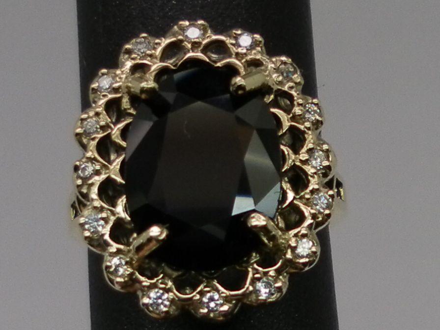 Vintage 14kt Blue Sapphire & Diamonds Ring; FREE SIZING.