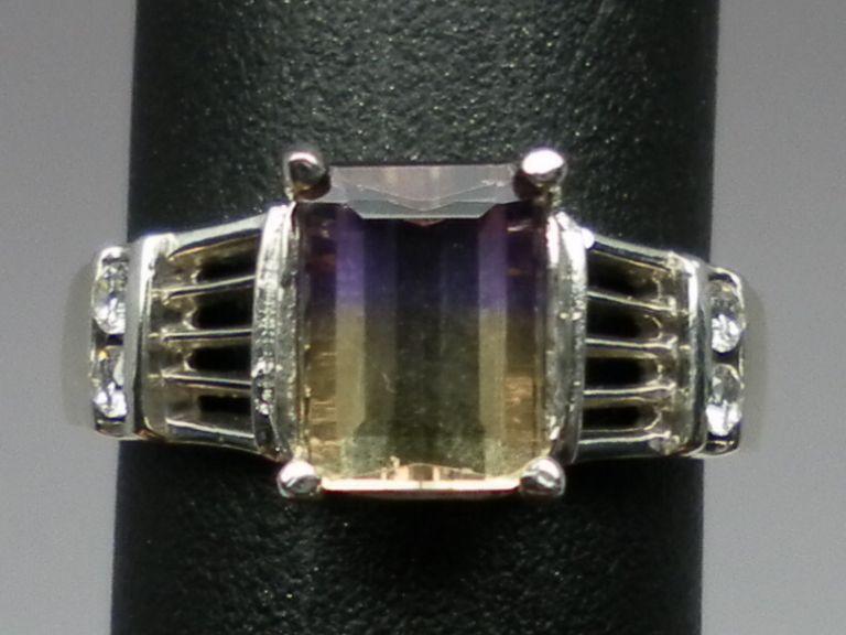 Vintage 14kt Ametrine & Diamonds Ring; FREE SIZING