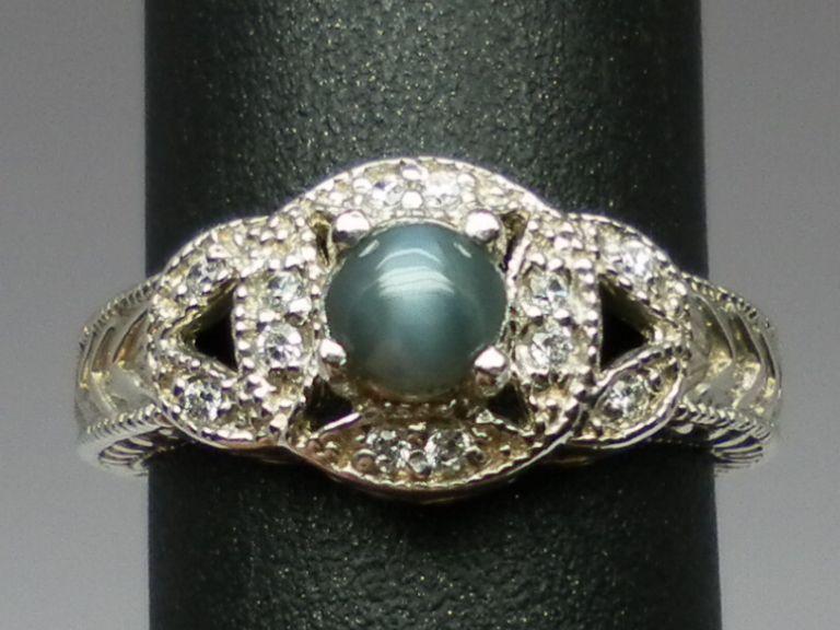 Vintage 14kt Cat's Eye Alexandrite & Diamonds Ring; FREE SIZING
