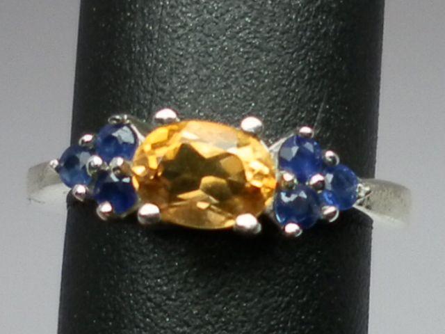 Vintage 14kt Citrine & Blue Sapphire Ring; FREE SIZING.