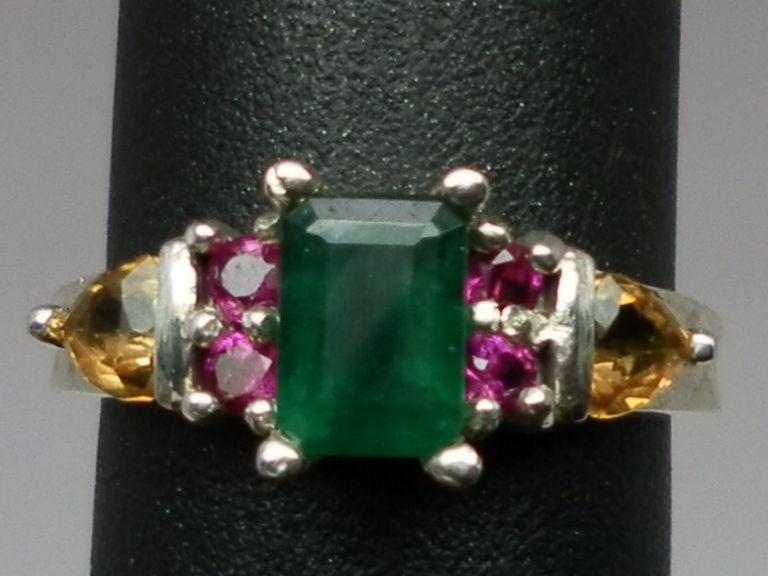 Vintage 14kt Emerald, Ruby & Citrine Ring; FREE SIZING