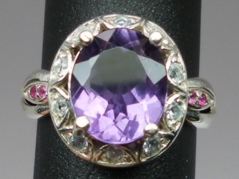 Vintage 14kt Amethyst, Aquamarine & Ruby Ring; FREE SIZING