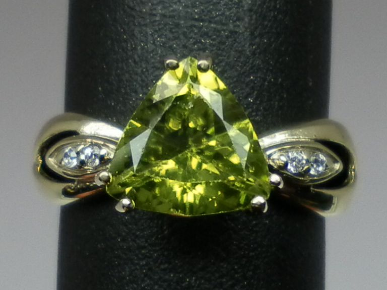 Vintage 14kt Peridot & Diamonds Ring; FREE SIZING