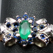 14kt Emerald & Blue Sapphire Ring; FREE SIZING.