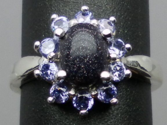 Natural Sunstone & Tanzanite Silver Ring,