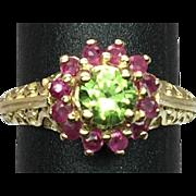 14k Peridot & Ruby Ring, Free Sizing