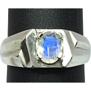 14k Faceted Moonstone Men's Ring, FREE SIZING