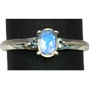 14k Faceted Moonstone & Aquamarine Ring, FREE SIZING