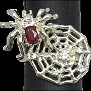 14k Ruby & Diamonds Spiderweb Ring, FREE SIZING