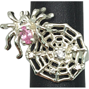 14k Pink Sapphire & Diamond Spiderweb Ring.