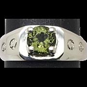 14k Green Tourmaline Men's Ring, FREE SIZING
