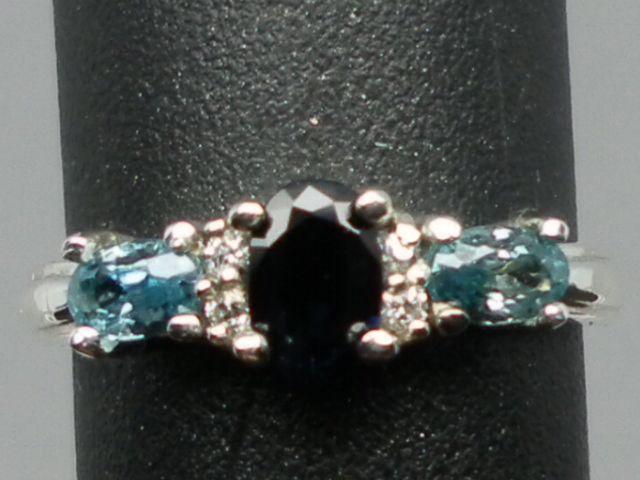 14kt, Blue Sapphire, Blue Zircon & Diamonds Ring; FREE SIZING.