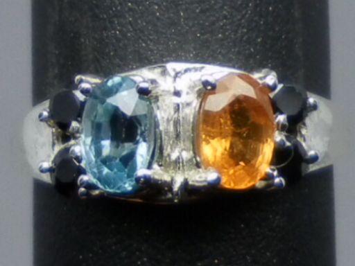 Natural Mandarin Garnet, Blue Zircon & Onyx Silver Ring; FREE SIZING.