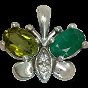 14k Peridot, Emerald & Diamond Butterfly Pendant W-Y-R