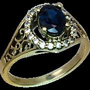 14k Blue Sapphire & Diamonds Ring, FREE SIZING