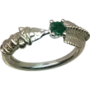 14k Colombian Emerald Arrow Ring, FREE SIZING.