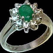 14k Colombian Emerald & Aquamarine Ring, FREE SIZING.