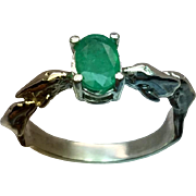 14k Colombian Emerald Dolphin Ring, FREE SIZING