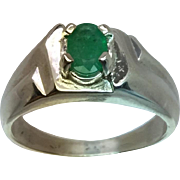14k Colombian Emerald Men's Ring, FREE SIZING