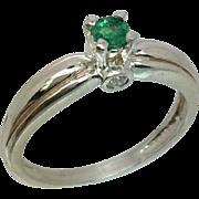 14k Colombian Emerald & Diamonds Ring, FREE SIZING